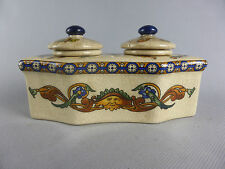ENCRIER DOUBLE EN CERAMIQUE STYLE GIEN DECOR GROTESQUE RENAISSANCE FRANCE INKPOT
