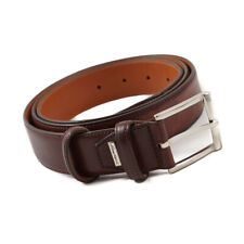 New $350 SANTONI Smooth Brown Calf Leather Belt One Size/Adjustable Strap