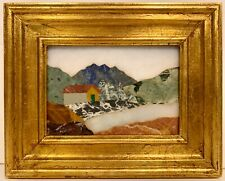 Vintage Framed Italian Pietra Dura Inlaid Mosaic Stone Plaque Landscape