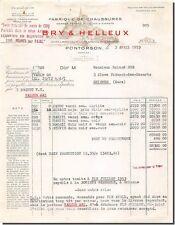 Facture BRY & HELLEUX Fabrique de chaussures à Pontorson 1953