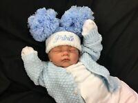 REBORN BABY BOY FIRST REBORN SPANISH STYLE 0UTFIT POM POM HAT - 0132S