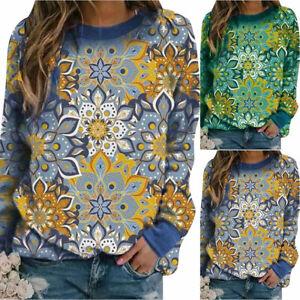 Women Crew Neck Floral Sweatshirt Pullover Jumper Top Casual Blouse Plus Size