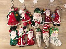 Hand Made Felt Cross Stitch Christmas Applique Ornament Santa Claus Reindeer