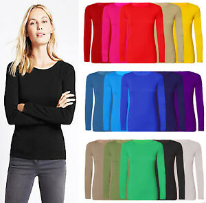 Womens Plain T-shirt Ladies Long Sleeve Scoop Neck Basic Stretch Plus Sizes 8-22