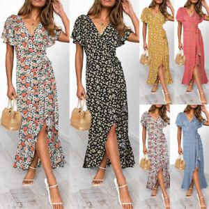 Women Summer Floral Wrap Maxi Dress Ladies V Neck Boho Beach Holiday Sundress uk