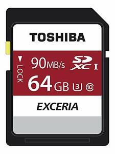 Toshiba Exceria N302 64GB SD Memory Card 90 MB/s 4K HD - THN-N302R0640E4 - Black