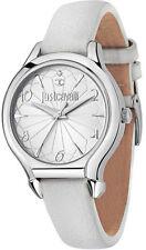 Just Cavalli Women Hook J Quartz Stainless Steel/White Leather Watch 7251533504
