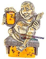 Bronze Solid Brass Baltic Amber Original Humor Magnet Kitchen Fan of Beer
