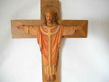 "ANRI CARVED WOOD 16"" JESUS on CROSS w/ CROWN & HALO - RESURRECTION & ASCENSION"