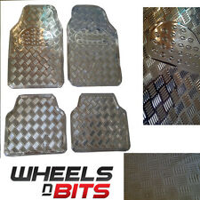 SILVER METAL Metallic Aluminium Checker Plate Look 4 pcs Universal Car Mats Set