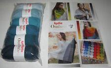 SET of 6 Balls of Katia OMBRE dk Merino Wool Knitting Yarn SHAWL KIT #9 TEALS