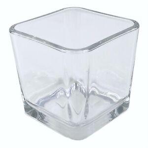 "Libbey 5475 Medium Clear Glass Cube Votive Holder Wedding Crafts 3.5"" Heavy"