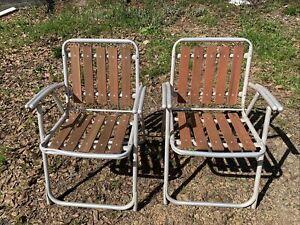 Vtg Pair Mid Century Folding Aluminum Red Wood Slat Lawn Chairs