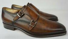Magnanni Men's Double Strap Monk Shoes Landon Tobacco Brown Leather Size 8 M