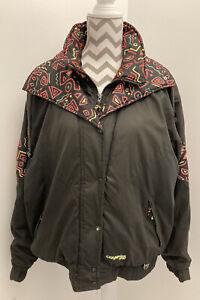 Retro Champion Ski Sport Jacket Coat 80's Style Black Aztec Print Vintage UK14