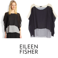 Eileen Fisher M Silk Layered Sleeveless with Overlay Top Black Gray Beige