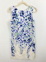 TALBOT'S RSVP Floral Sleeveless Sheath Dress Size 8 PETITE White Blue Easter