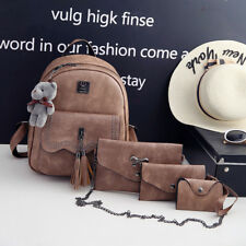 4 in 1 Korean Leather Backpack with Bear (Brown)