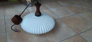 lampe suspension abat jour globe design scandinave  vintage Rispal louis kalff