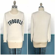 50s Rockabilly Pin Up Varsity Style Crewneck Sweater TROUBLE Sz L Beat It Creep