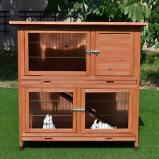 Rabbit Hutch Large Classic Double Story Guinea Pig Hutch with Double Trays T056