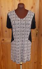 NEXT ivory off-white black grey stretch wiggle shortsleeve tunic tea dress 12 40