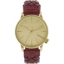 Rare Unisex Komono Winston Woven Quality Watch Burgundy KOM - W2030 RRP£90 #£F