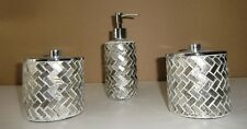 Bathroom Soap Dispenser + 2 Jars With Lid Silver Glass Mosaic Tiles New w/Tags