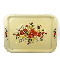 Vtg Metal Distressed Cream Floral Rose Shabby Rustic Chic Tray Platter