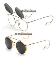Men vintage round Eyeglass frame cable temple steampunk Clip on Sunglasses New