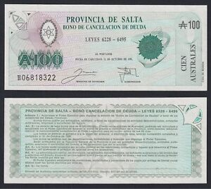 Argentina 100 australes Provincia de Salta 1991 FDS/UNC  C-07