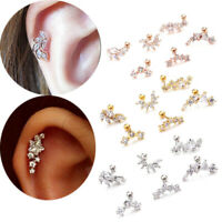 Curved Cartilage Stud Helix Rook Conch Screw Back Earring Ear Piercing Jewelry