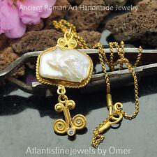 Omer 925 k Sterling Silver Unique Pearl Pendant Necklace 24k Gold Vermeil
