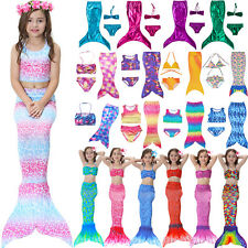 Kids Girl Swimmable Mermaid Tail Swimwear Bikini Swimming Costume Swimsuit 3-12Y