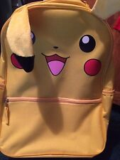 """2015 New Pokemon Pikachu Canvas Backpack (16"""") with 3D Plush Ears"""