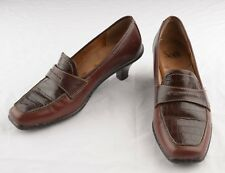 SOFFT Womens Pumps Sz 9 N Heels Brown Leather Reptile Pattern Slip On Shoes
