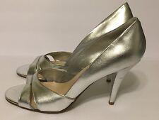 NINE WEST Silver Open Toe Slip On High Heel Pumps Sz 9.5