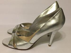 Nine West Womens Silver Heels Open Toe 9 1/2 Slip On Pumps Size 9.5