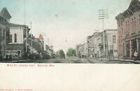 WAUPUN WI – Main Street looking East – Hand Colored Postcard – udb (pre 1908)