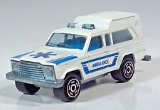 "Majorette Jeep Cherokee Ambulance 3"" Scale Model 1:64 Blue White 1979"