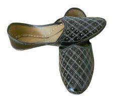 Men Shoes Indian Handmade Leather Khussa Loafers Flat Black UK 7.5 EU 41