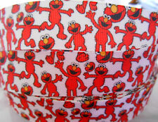 """ELMO HAPPY red character Grosgrain Ribbon 1"""" card cake craft clip  2 yds 5 yds"""