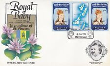 MAYREAU 1982 BIRTH OF PRINCE WILLIAM 50c TAB GUTTER PAIR FIRST DAY COVER SHS