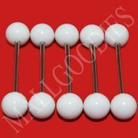 W004 Solid Plain White Color Acrylic Tongue Rings Bar Barbell LOT of 5 UV