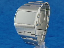 ASYMMETRIC Large and Chunky Vintage 1970s Style LED LCD DIGITAL Retro watch silv