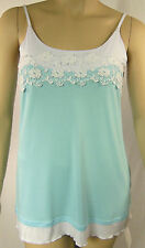 QUEENSPARK Blue White Lace Soft Stretch Strappy Tunic Cami Size S 10 BNWT # I17