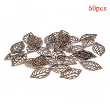 Wholesale 50Pcs Leaves Filigree Metal Crafts Jewelry DIY Accessories Pendant