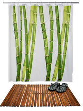 Duschset Holz Badematte + Duschvorhang Duschabtrennung Badvorleger Holzmatte