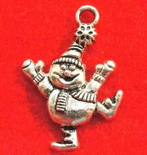 10Pcs. Tibetan Silver SNOWMAN HAPPY Christmas Charms Pendants Earring Drops CH22