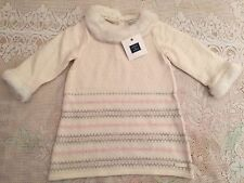 Janie and Jack White Sweater Dress, Faux Fur Collar, 3-6 months - NWT